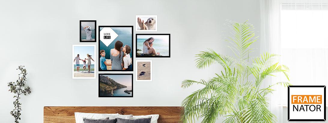 wand mit fotos gestalten inklusive schablone pixelnet. Black Bedroom Furniture Sets. Home Design Ideas