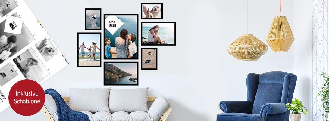 bilderwand selbst gestalten mit eigenen fotos pixelnet. Black Bedroom Furniture Sets. Home Design Ideas